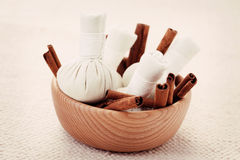 Cinnamon massage stamps Stock Images