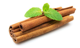 Cinnamon with mint Stock Photography