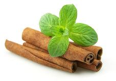 Cinnamon with mint Royalty Free Stock Photography
