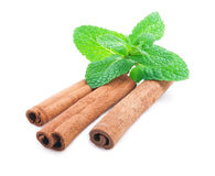Cinnamon and mint isolated . Stock Photos