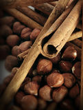 Cinnamon mixed with hazel nuts Stock Photo