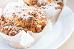 Cinnamon muffins on plate Royalty Free Stock Image