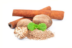 Cinnamon and nutmeg Stock Photography