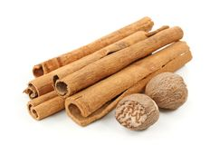 Cinnamon and nutmeg Royalty Free Stock Photos