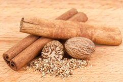 Cinnamon and nutmeg Royalty Free Stock Photo