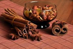 Cinnamon and nuts Royalty Free Stock Images