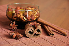 Cinnamon and nuts Stock Image