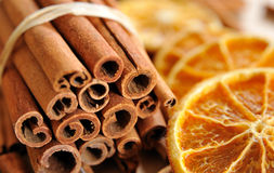 Cinnamon and orange #1 Royalty Free Stock Images