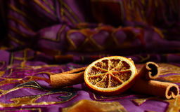 Cinnamon and orange close up. Christmas still life Stock Images