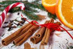 Cinnamon and oranges for Christmas Stock Image