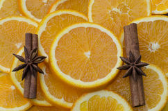 cinnamon and oranges Royalty Free Stock Images