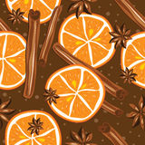 Cinnamon and oranges, vector, kitchen background. Royalty Free Stock Photos