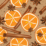 Cinnamon and oranges, vector, kitchen background. Stock Images