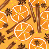 Cinnamon and oranges, vector, kitchen background. Royalty Free Stock Image