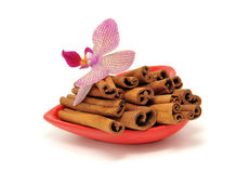 Cinnamon and orchid, orchidee Stock Photo