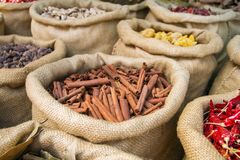 Cinnamon and other spices in the bags Stock Image