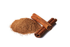 Cinnamon over white background Royalty Free Stock Photography