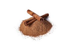 Cinnamon over white background Royalty Free Stock Photo