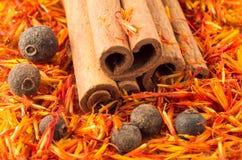 Cinnamon, peppercorn and saffron close-up Stock Images