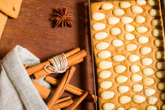 Cinnamon and piece of gingerbread Cottage Royalty Free Stock Photography