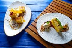 Cinnamon and pistachio cream millefeuille Stock Image