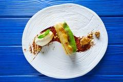 Cinnamon and pistachio cream millefeuille Stock Photography