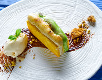 Cinnamon and pistachio cream millefeuille Royalty Free Stock Photography