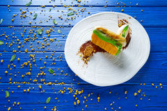 Cinnamon and pistachio cream millefeuille Stock Photo