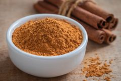 Cinnamon Powder And Cinnamon Sticks On Wooden Table Royalty Free Stock Image