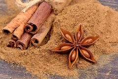 Cinnamon powder and anise star with rolls of cinnamon sticks Stock Images
