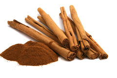 Cinnamon powder and bark Stock Photography