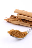 Cinnamon powder on a spoon Stock Image
