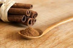 Cinnamon powder and  sticks Stock Image