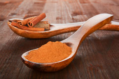 Cinnamon powder on wooden spoon. Royalty Free Stock Image