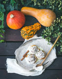 Cinnamon pumpkin buns with creamy cheese icing and ripe pumpkins Royalty Free Stock Photos