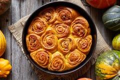 Cinnamon pumpkin dough bun rolls spicy traditional Danish baked vegan sweet autumn cake Stock Images
