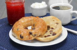 Cinnamon raisin bagel, buttered Stock Photography