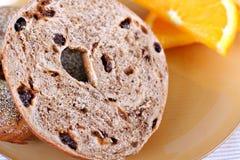 Cinnamon raisin bagel closeup Royalty Free Stock Images