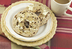 Cinnamon Raisin Bagels with Coffee Royalty Free Stock Photo