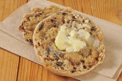 Cinnamon raisin English muffin Stock Photo
