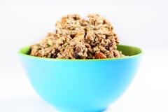Cinnamon raisin granola in a bowl. Shot of a cinnamon raisin granola in a bowl Royalty Free Stock Images