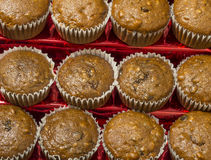 Cinnamon raisin nut muffins. Freshly baked raisin cinnamon nut muffins hot and ready to enjoy stock images