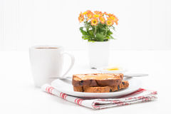 Cinnamon Raisin Toast. Served with fresh brewed coffee Royalty Free Stock Image