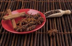 Cinnamon on Red Stock Photos