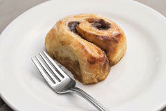 Cinnamon roll. Warm cinnamon roll with fork on white plate royalty free stock images