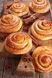 Cinnamon roll on board Royalty Free Stock Images
