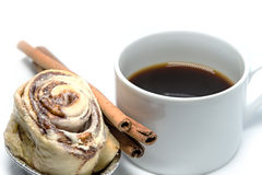 Cinnamon roll bun with coffee isolated Stock Photo