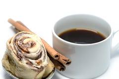 Cinnamon roll bun with coffee isolated Stock Photo