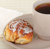Cinnamon Roll and Coffee Stock Image