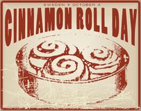 Cinnamon Roll Day vintage card Royalty Free Stock Image
